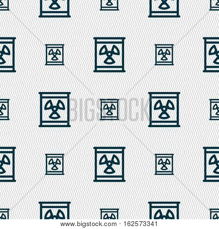 Radiation Icon Sign. Seamless Pattern With Geometric Texture. Vector