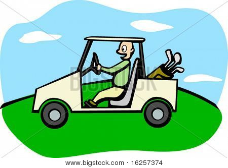 driving a golf cart