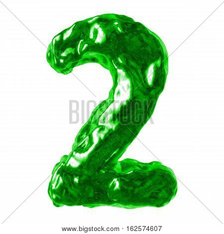number 2 green liquid on a white background