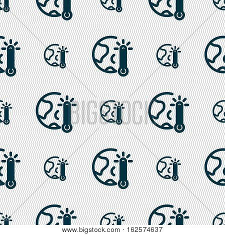 Global Warming, Ecological Problems And Solutions, Thermometer Icon Sign. Seamless Pattern With Geom