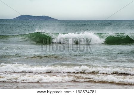 Turbulent Sea With Breaking Waves