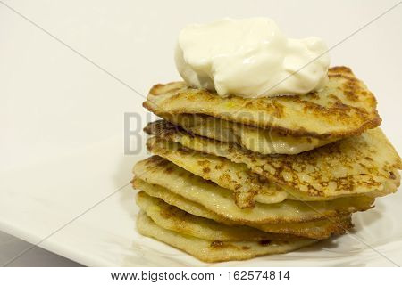 fried potato pancakes with sour cream sauce cooked vegetables food diet, Breakfast, hearty