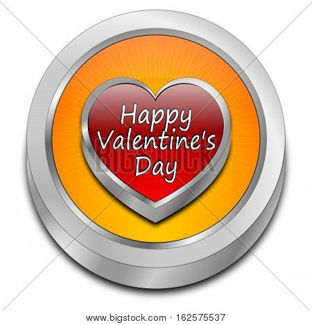 decorative orange Happy Valentine's Day button - 3d illustration