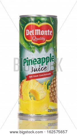 Alameda CA - December 20 2016: 8.1 fluid ounce can of Del Monte brand Pineapple Fruit Juice Drink. Del Monte was created in 1886 and is located in San Francisco CA.