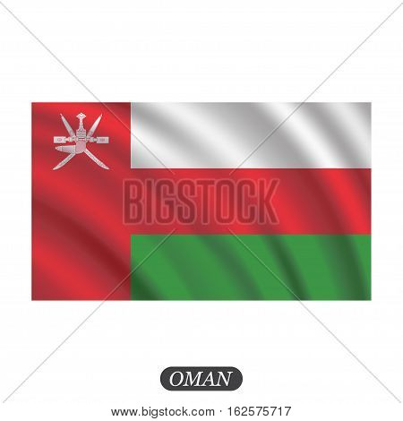 Waving Oman flag on a white background. Vector illustration