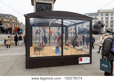 LONDON ENGLAND - DECEMBER 17: Christmas Crib London Trafalgar Square by Tomoaki Suzuki. In London England. On 17th December 2016.