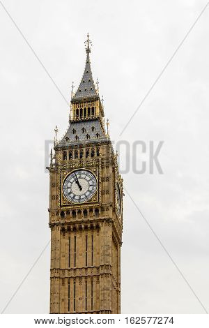 Big Ben, Houses Of Parliament - Isolated Over White. Big Ben Panorama - Palace Of Westminster, Londo