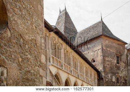 The Hunyad Castle closeup. Medieval Gothic-Renaissance castle in Hunedoara (Transylvania).