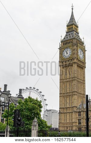 London United Kingdom - August 20: Big Ben picture and surroundings on August 20 in London. Big Ben is the nickname for Great Bell of the clock at the north end of the Palace of Westminster in London.