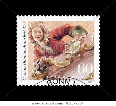 GERMANY - CIRCA 1989 : Cancelled postage stamp printed by Germany, that shows Cosmas Damian Asam.