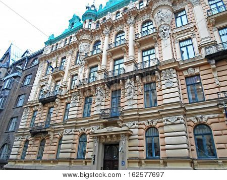 Fragment of Art Nouveau architecture in Riga city, Latvia - DECEMBER 2016