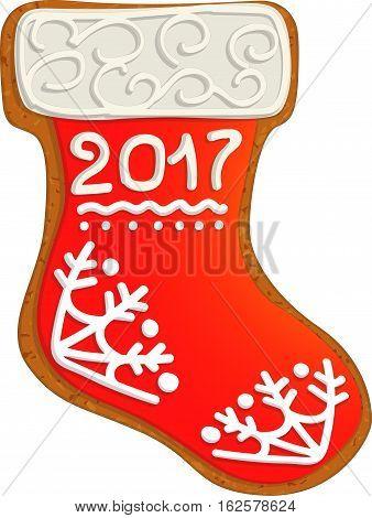 Christmas socks with gifts. Gingerbread Christmas sock
