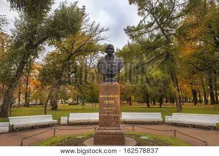 ST. PETERSBURG, RUSSIA - October 10: monument to Nikolai Vasilievich Gogol (ukrainian- russian dramatist, novelist) in front of the Admiralty building, Saint Petersburg, Russia 10, 2016