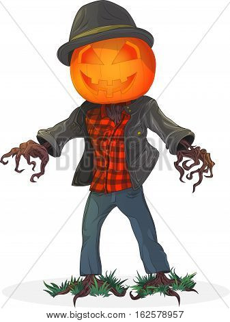 Pumpkin scarecrow. Illustration for the holiday Halloween. White background