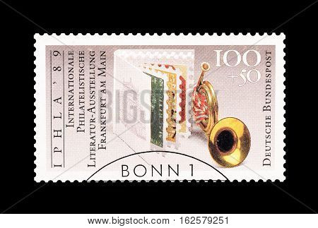 GERMANY - CIRCA 1993 : Cancelled postage stamp printed by Germany, that shows Stamps and Trumpet.
