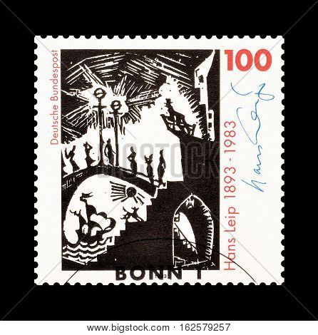 GERMANY - CIRCA 1993 : Cancelled postage stamp printed by Germany, that shows Hans Leip.