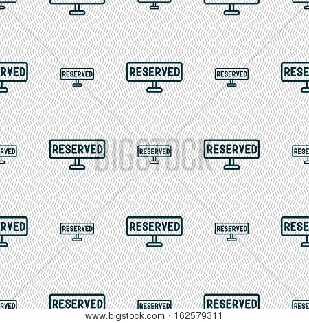 Reserved Icon Sign. Seamless Pattern With Geometric Texture. Vector