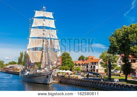 Lithuania, Klaipeda - July 20, 2016: Restaurant On Sailing Boat On Dane River In Oldtown Of Klaipeda