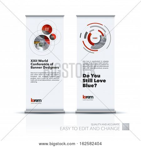 Abstract business vector set of modern roll Up Banner stand design template with rounds, circles, soft lines for exhibition, fair, show, exposition, expo, presentation, festival, parade, events.