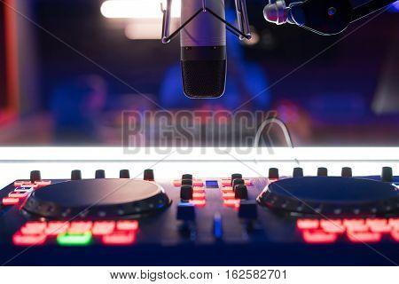 Dj Mixer, Dj Equipment At Night Club