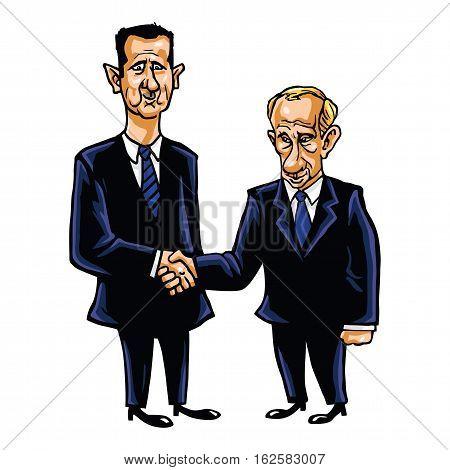 December 21, 2016. Bashar Al-Assad With Vladimir Putin Cartoon Vector Illustration