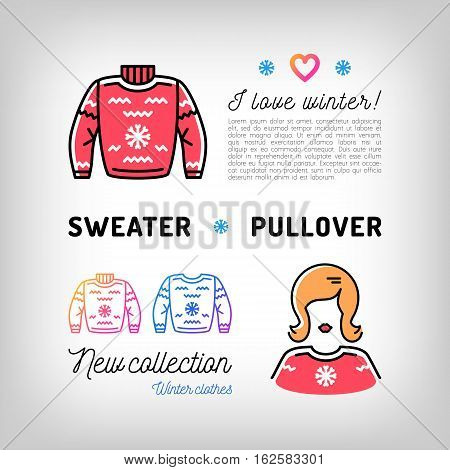 Winter sweater thin line icons, christmas pullover, jumper. Winter sport clothes, sportswear. Trendy banner, flyer for a sports shop, Advertising sweatshirts. Vector illustration, isolated symbols