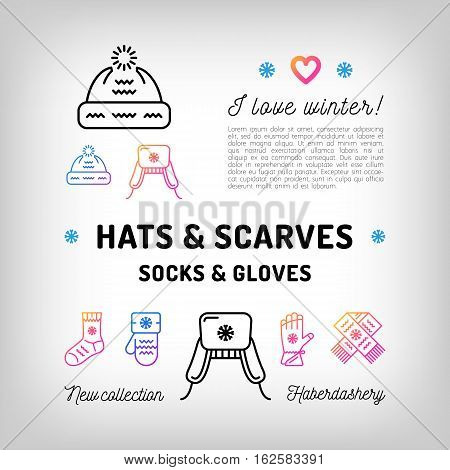 Winter Hats and Scarfs, knit hat. Socks and gloves, mittens. Trendy haberdashery, Russian hat. Trendy banner, flyer for a shop, Advertising accessories, product promotion. Vector illustration