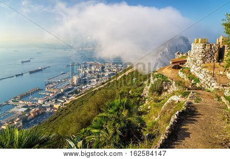 The Rock of Gibraltar in fog. A British Overseas Territory
