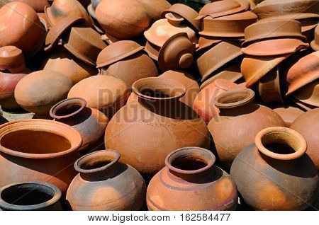 Background of a pots dishes and other articles made of baked clay.