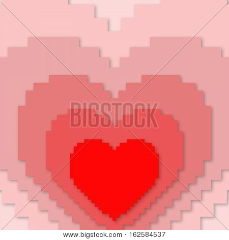 Red pixel heart concept illustration. Heart sign. Valentine's Day concept sign. Simple heart icon representing love emotion