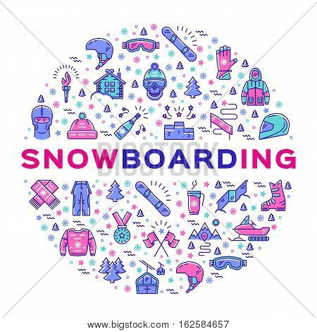 Vector snowboarding icon, Snowboard infographics. Isolated symbols of winter sports clothing, sportswear. Minimal thin line art style. Colorful sport corporate identity, branding design elements