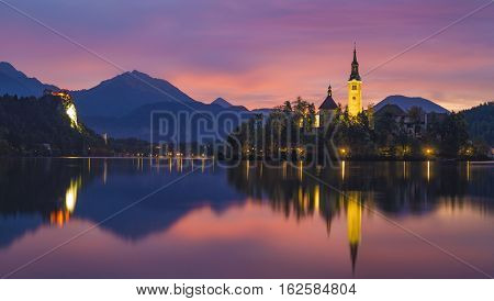 mazing View On Bled Lake, Island,Church And Castle With Mountain Range (Stol, Vrtaca, Begunjscica) In The Background-Bled,Slovenia,Europe
