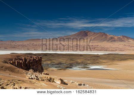 Viewpoint towards the Salar de Tara Atacama desert Chile