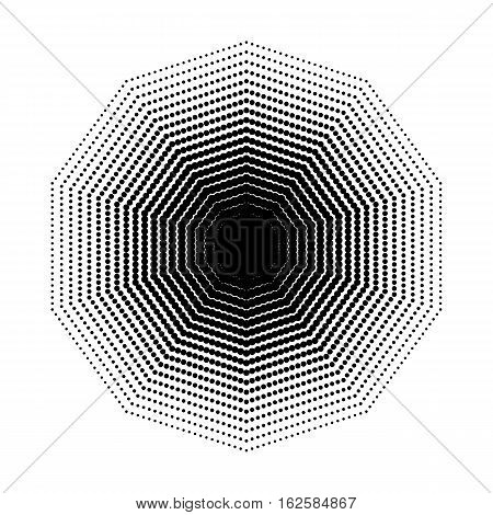 Vector Decagon halftone geometric shapes, Dot design abstract background. The geometric shape with seven angles, Design element or background. Dotwork Illustration