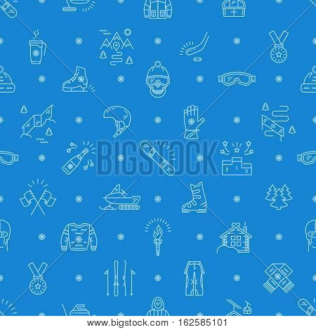 Winter sport seamless pattern, thin line icon. Winter recreation and fun, ski, snowboard, ice skating, winter clothes and sportswear, winter landscape outline symbols. Trendy vector mono background