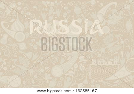 Russian ecru background world of Russia pattern with modern and traditional elements vector illustration