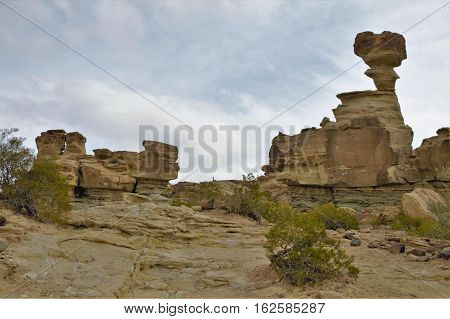 Long shot of the stone formation the submarine in the nature reserve Ischigualasto also called Valle de la Luna in the area San Juan in Argentina South America