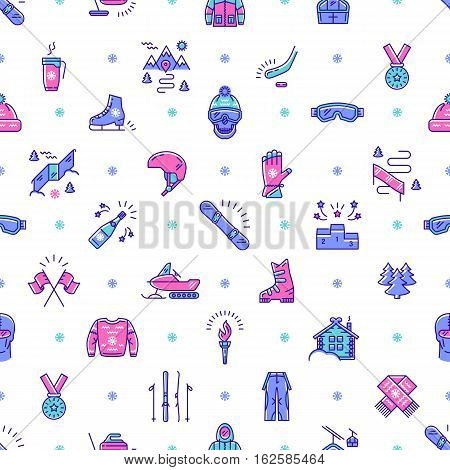 Winter sport seamless pattern thin line art style. Winter recreation and fun, ski, snowboard, ice skating, winter clothes and sportswear, winter landscape outline symbols. Trendy vector background