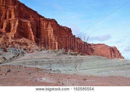 Long shot of the nature reserve Ischigualasto also called Valle de la Luna in the area San Juan in Argentina South America