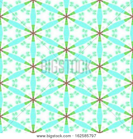 Seamless pattern with blue and green colorful floral repeating shapes - digitally rendered graphic