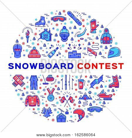 Vector Snowboard competition, Snowboarding contest. Extreme Winter Sports, Accessories and clothes snowboarder. Sport outline icons and thin line art infographics. Snowboarding corporate identity