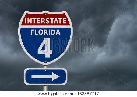 USA Interstate 4 highway sign Red white and blue interstate highway road sign with number 4 with stormy sky background 3D Illustration