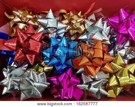 Celebration the boxing day with variety colorful ribbon collection for gift