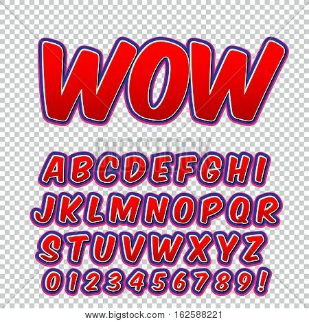 Creative high detail comic font. Alphabet of comics pop art. Letters and figures for decoration of kids' illustrations websites posters comics and banners.
