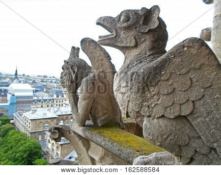 Gargoyles of Paris on Notre Dame Cathedral church and Paris cityscape from above, France