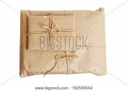 Gift Parcels With Kraft Paper Isolated On White