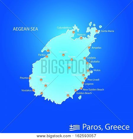 Island Of Paros In Greece Map Illustration In Colorful