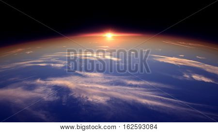 The Sun On The Horizon Of The World From The Perspective Of Space.