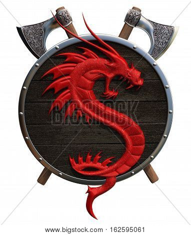 shield with a red dragon on a white background