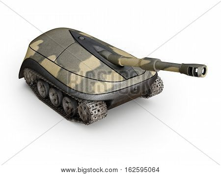 computer mouse in form of a tank on white background